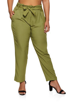 Plus Size Tie Waist Crepe Knit Dress Pants - 9441062700452