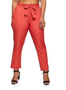 Plus Size Tie Waist Crepe Knit Dress Pants - 9441062700452