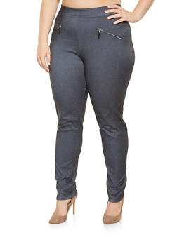 Plus Size Zip Trim Jeggings - 9441062701634