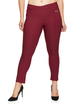 Plus Size Pull On Metallic Detail Pants - 9441062707019