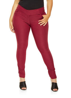 Plus Size Solid Stretch Pants - 9441062707034