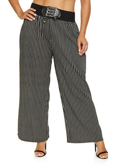 Plus Size Striped Palazzo Pants - 9441062707091