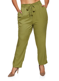 Plus Size Tie Button Front Pants - 9441062707552