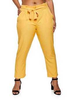 Plus Size Tie Button Front Pants - 9441062707552