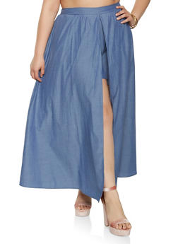 Plus Size Chambray Maxi Shorts - 9441074281084