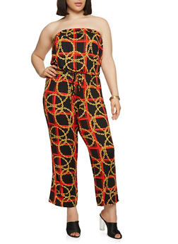 Plus Size Soft Knit Printed Jumpsuit - 9442020626501