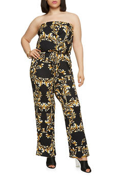 Plus Size Soft Knit Printed Jumpsuit - 9442020626501