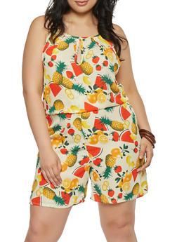 Plus Size Fruit Print Romper - 9442020629236