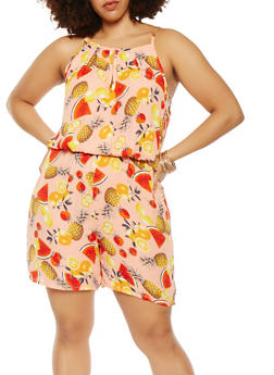 Plus Size Fruit Print Romper - 9442020629236