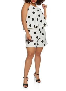 Plus Size Polka Dot Overlay Romper - 9443020621652