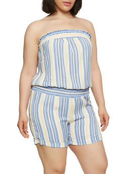 Plus Size Smock Trim Striped Romper - 9443020623956