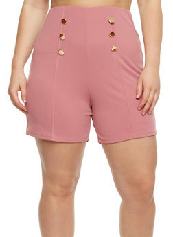 Plus Size Solid Sailor Shorts - 9443020626781