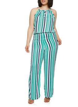 Plus Size Striped Jumpsuit - 9443020626956