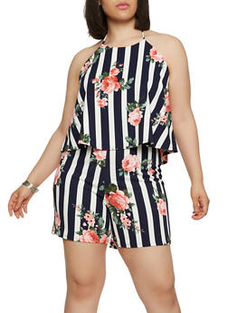 Plus Size Striped Floral Romper - 9443020628802