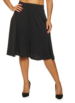 Plus Size Solid Skater Skirt - 9444020620440