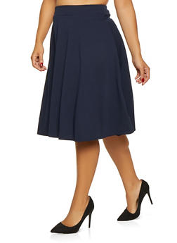Plus Size Solid Skater Skirt - 9444020620440