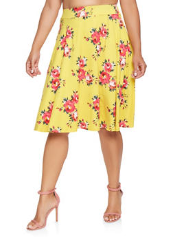 Plus Size Floral Skater Skirt - 9444020620744