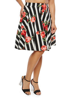 Plus Size Striped Floral Skater Skirt - 9444020621649
