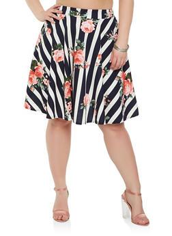 Plus Size Striped Floral Skater Skirt - 9444020621649