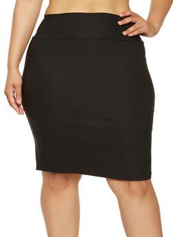 Plus Size Stretch Pencil Skirt - 9444020622425