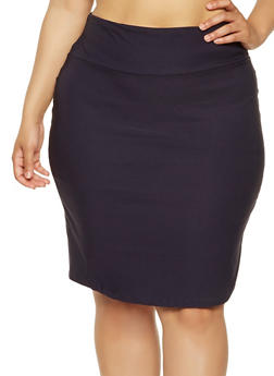 Plus Size Stretch Pencil Skirt - 9444020622425
