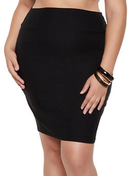 Plus Size Solid Stretch Pencil Skirt | 9444020622527 - 9444020622527