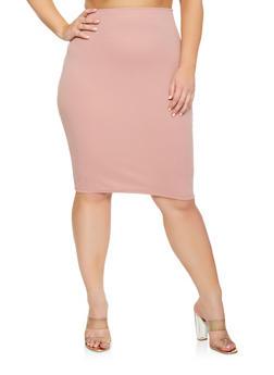 Plus Size Stretch Pencil Skirt - 9444020623339