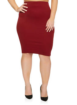 Plus Size Stretch Pencil Skirt - 9444020623339