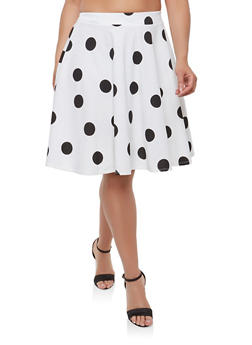 Plus Size Polka Dot Skater Skirt - 9444020624916