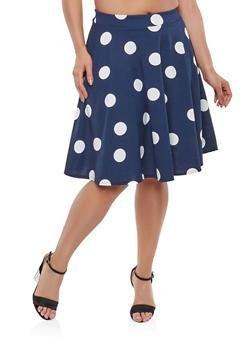 Plus Size Polka Dot Skater Skirt - 9444020624916