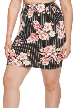 Plus Size Striped Floral Pencil Skirt - 9444020625485