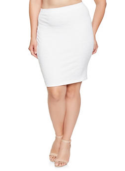 Plus Size Ribbed Pencil Skirt - 9444020625854