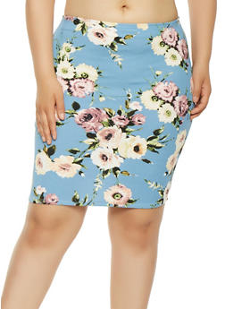 Plus Size Floral Midi Pencil Skirt - 9444020625855