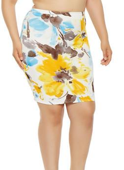 Plus Size Floral Midi Pencil Skirt - 9444020625855
