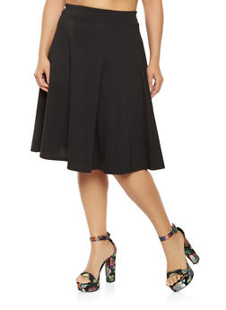 Plus Size Solid Skater Skirt - 9444020626004