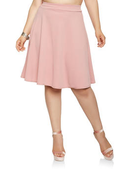 Plus Size Solid Skater Skirt - 9444020626004