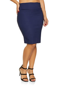 Plus Size Solid Pencil Skirt - 9444020626392