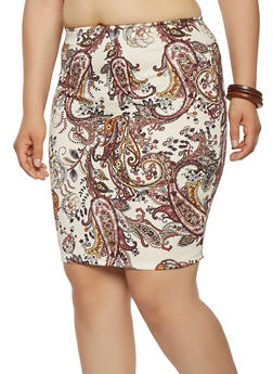 Plus Size Paisley Print Pencil Skirt - 9444020626848