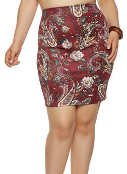 Plus Size Paisley Print Pencil Skirt - 9444020626848