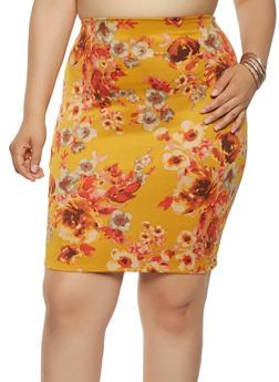 Plus Size Floral Scuba Midi Skirt - 9444020628468