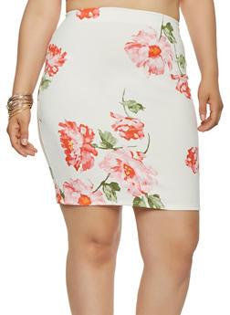 Plus Size Floral Stretch Pencil Skirt - 9444020628486
