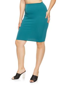 Plus Size Crepe Knit Pencil Skirt - 9444020628854