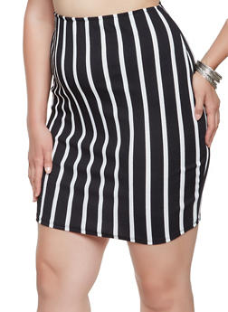 Plus Size Striped Pencil Skirt - 9444020628858