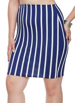 Plus Size Striped Pencil Skirt - 9444020628858