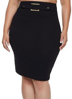 Plus Size Crepe Buckle Detail Pencil Skirt - 9444020629026