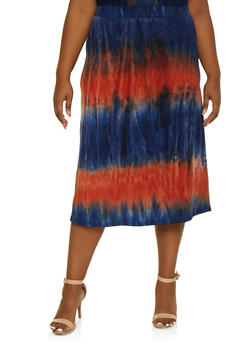 Plus Size Tie Dye Skater Skirt - 9444062701801