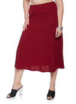 Plus Size Crepe Knit Midi Skirt - 9444062701821