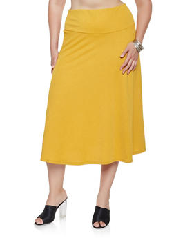 Plus Size Crepe Knit Midi Skirt - 9444062701821