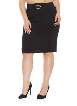 Plus Size Metallic Waist Detail Pencil Skirt - 9444062703001