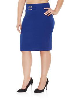 Plus Size Metallic Waist Detail Pencil Skirt - 9444062703001